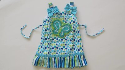 Aqua Dotted Butterful Sundress