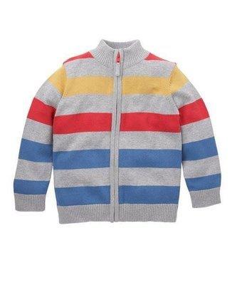 Multicolored Striped Zip Through Cardigan