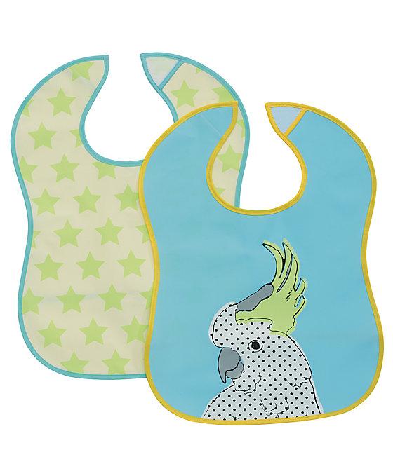 Baby K Bird and Star Crumbcatcher Bibs- 2 Pack)(yellow and blue)