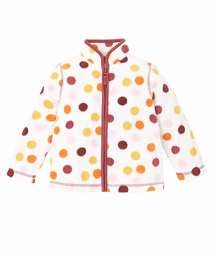 Polka dots Fleece Zip Through Cardigan