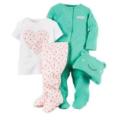 4piece tee romper pants and a hat
