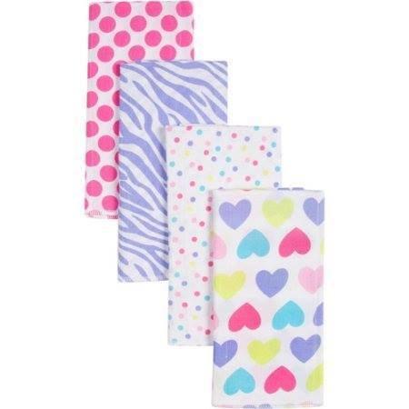 Gerber Girl Print Prefold Diaper Burp Cloths, 4 count