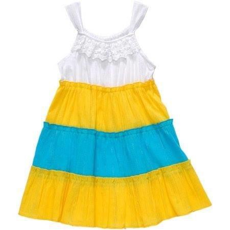 Toddler Girl Tiered Gauze Metallic Sleeveless Dress