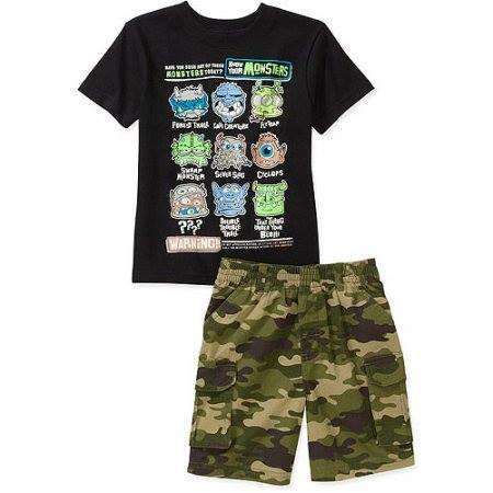 Baby Toddler Boy 2-Piece Graphic Tee and Cargo Shorts Set