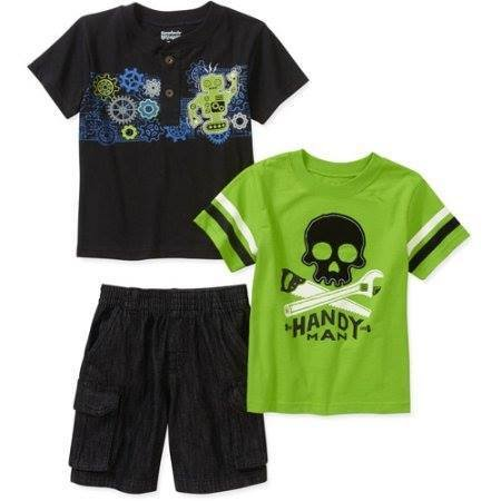 Toddler Boy 3-Piece Tee and Shorts Set