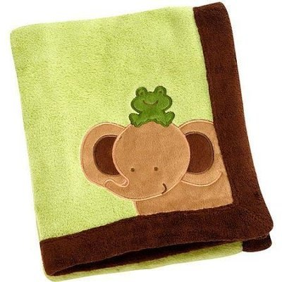 Baby Safari Applique Coral Blanket