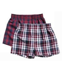 Burgundy/checked 2 pack boxer set