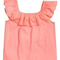 Coral pink flounced jersey top