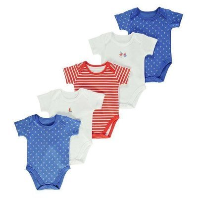 Blue Crafted Five Pack Bodysuits Babies