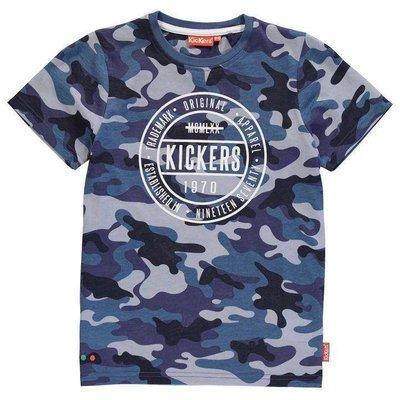 Blue Camo Kickers Print T Shirt Junior