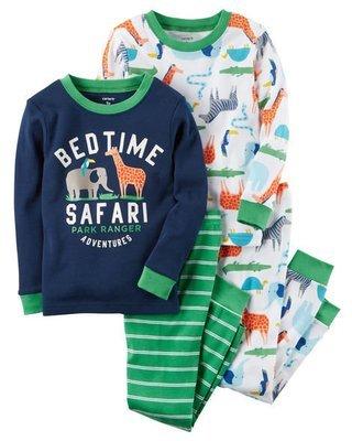2-Piece Green Safari Snug Fit Cotton PJs