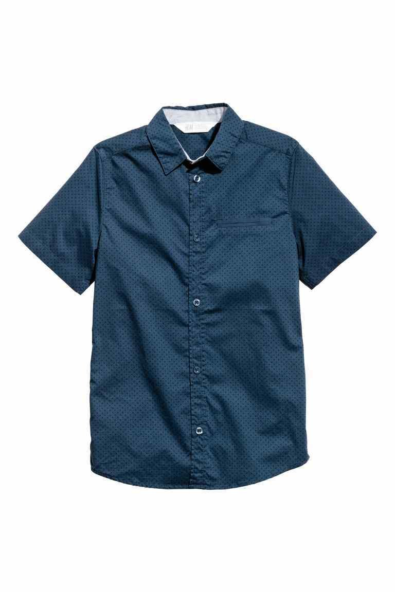 Dark blue Spotted short sleeved T-shirt