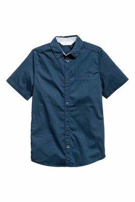 Dark blue Spotted short sleeved T-shirt