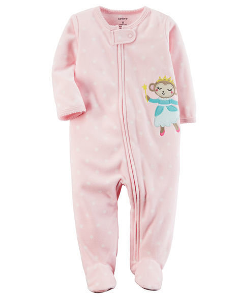 Pink Fleece Zip-Up Sleep & Play