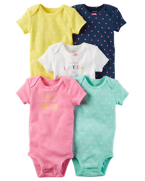 Multi colour 5-Pack Short-Sleeve Original Bodysuits
