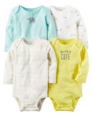 Yellow 4-Pack long Sleeve Original Bodysuits