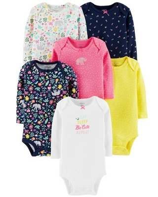 Doodles Carters 6-Pack Long-Sleeve Original Bodysuits