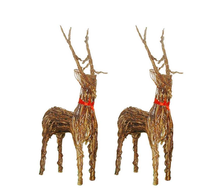 pair of christmas wicker reindeer 2 x 107cm 42 - Reindeer Images 2