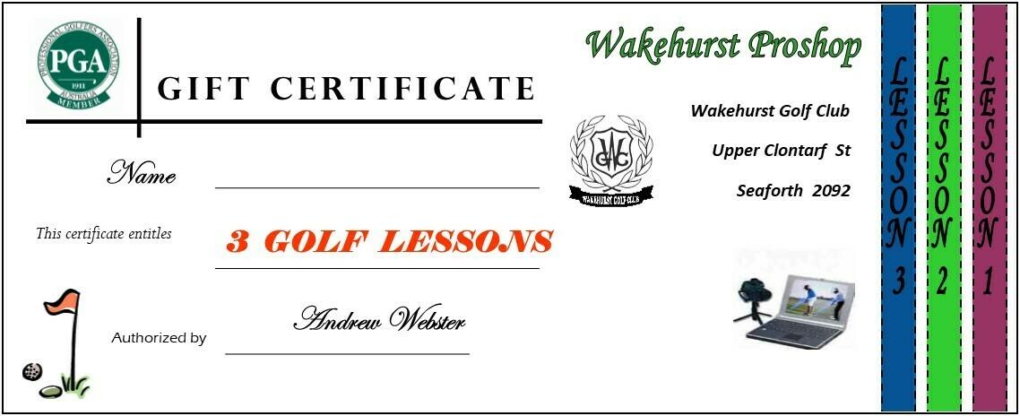 PGA Golf 3 Lesson Voucher