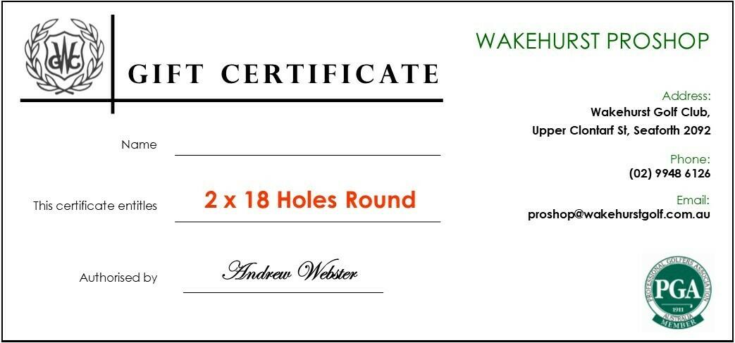 2 x 18 Holes Round of Golf Voucher