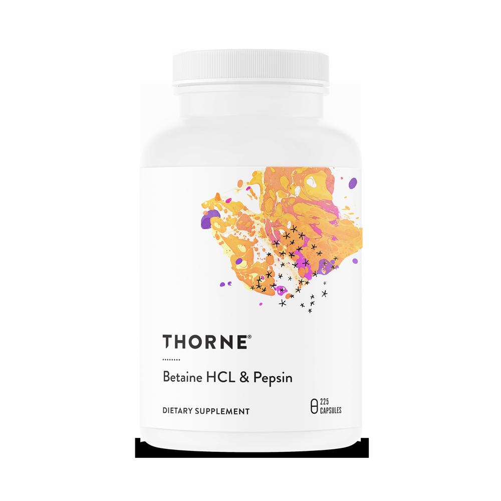בטאין HCL בתוספת פפסין של THORNE- תוספת מיץ קיבה לאנשים עם תת חומציות בקיבה