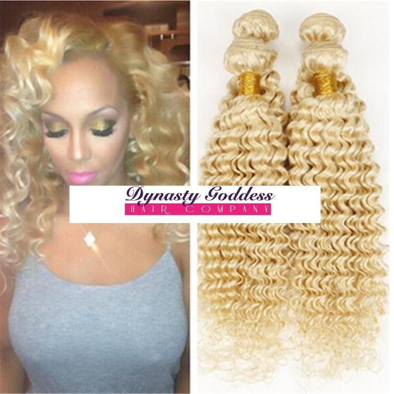 Russian Blonde 613 Deep Curl Hair Extensions