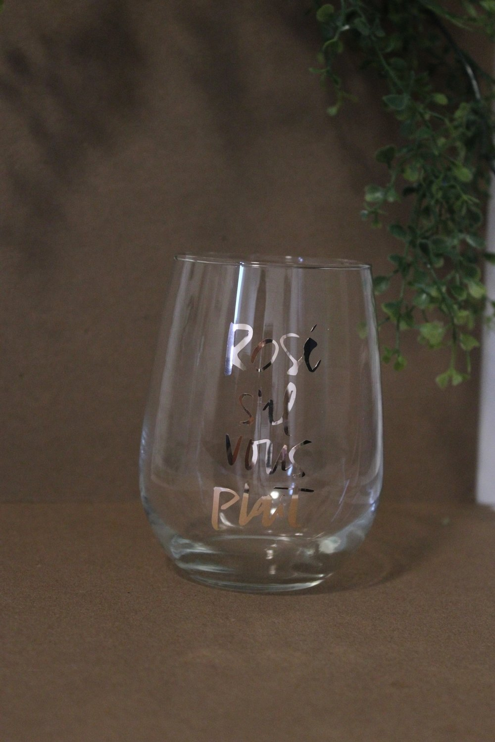 Wine Glass - Rose s il vous plait - Rose Gold