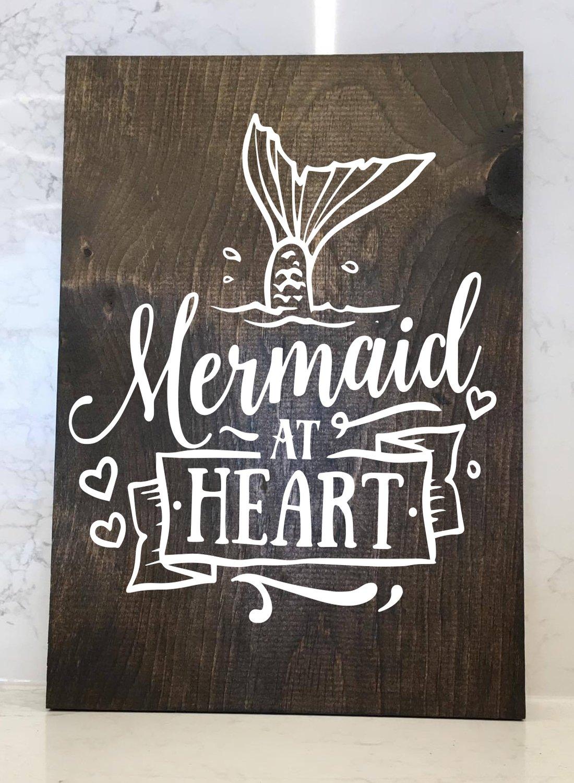 Mermaid at Heart - 12x16 Wood Sign