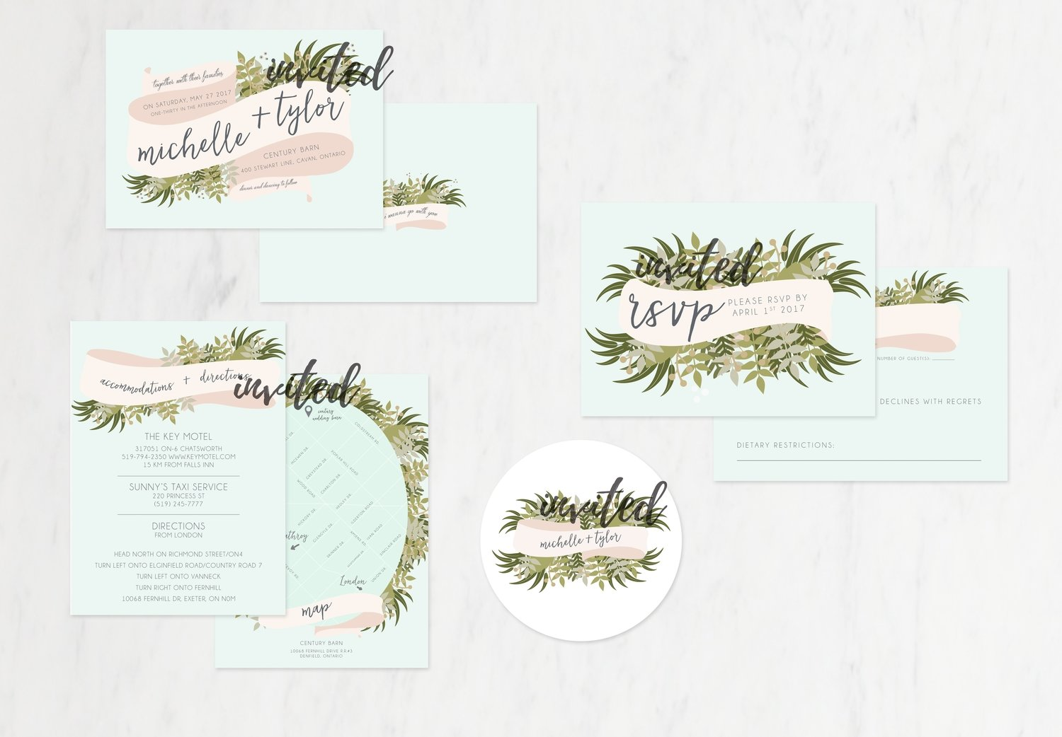Mint Greenery & Rosé Invitations