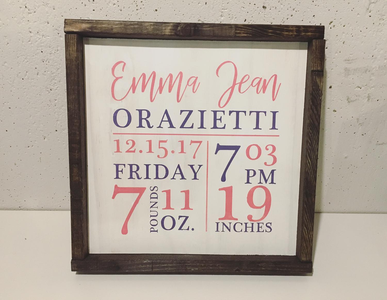 12x12 Birth Stat Wood Signs