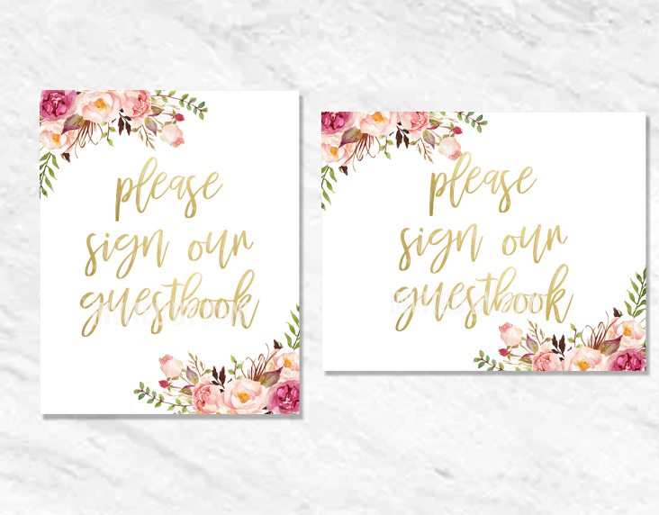Peonies | Please Sign Our Guestbook | Printable Good