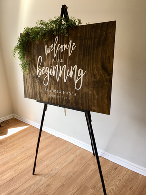 Welcome to our beginning | Wood Sign