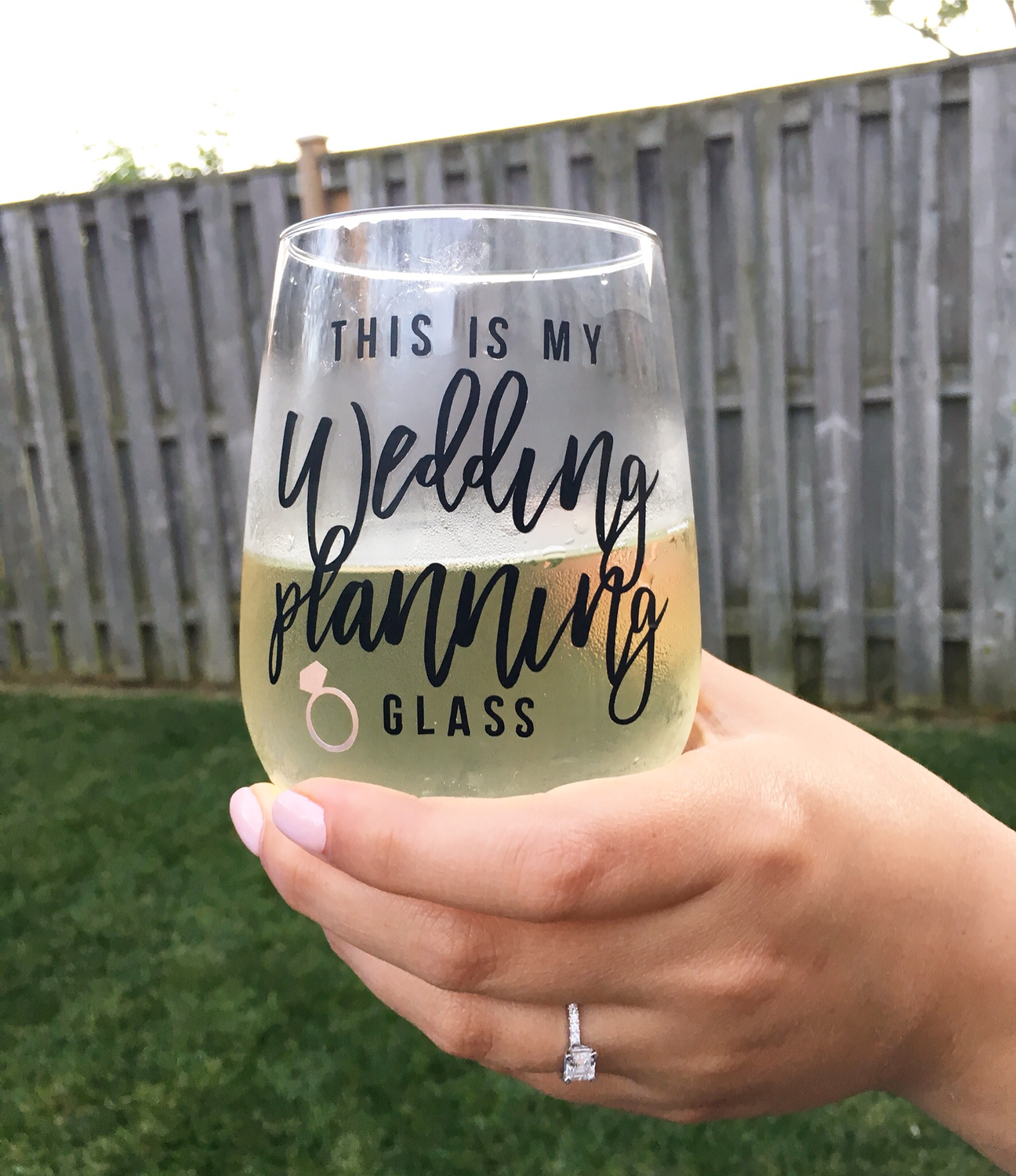 """this is my wedding planning glass"" - Wine Glass"
