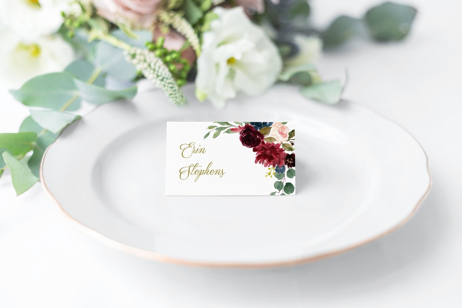 Burgundy & Navy Floral Place Cards