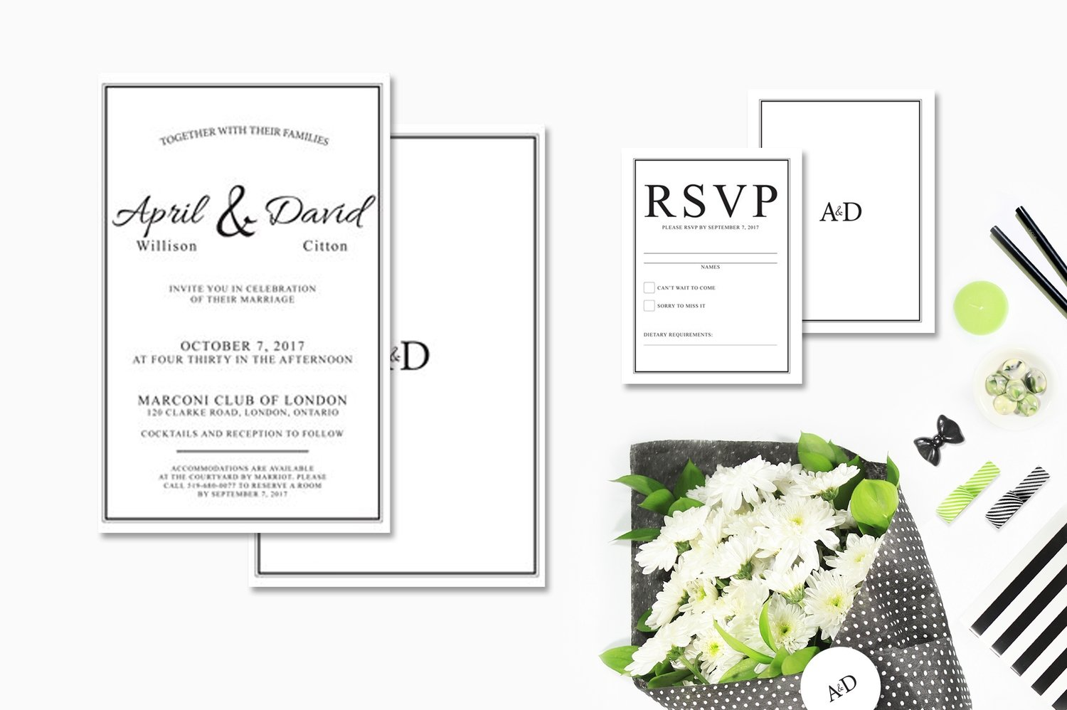 Black & White Classic Invitations