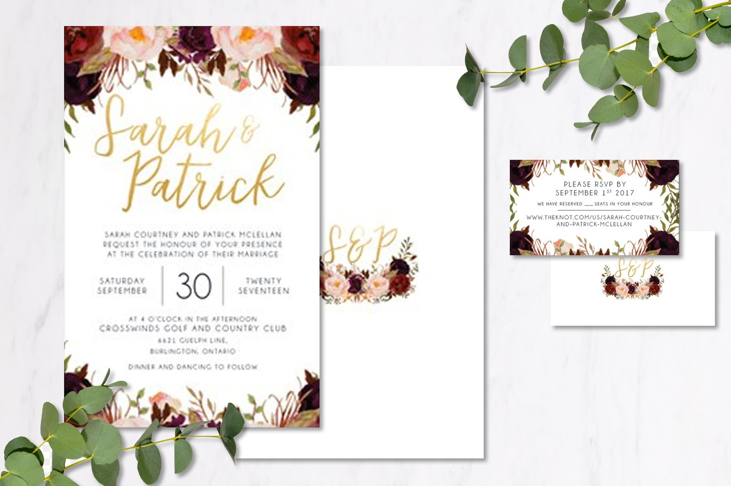 Burgundy Floral Invitations