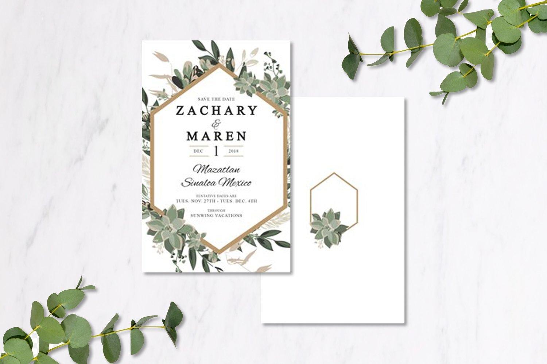 Eucalyptus & Gold Geometric Invitations