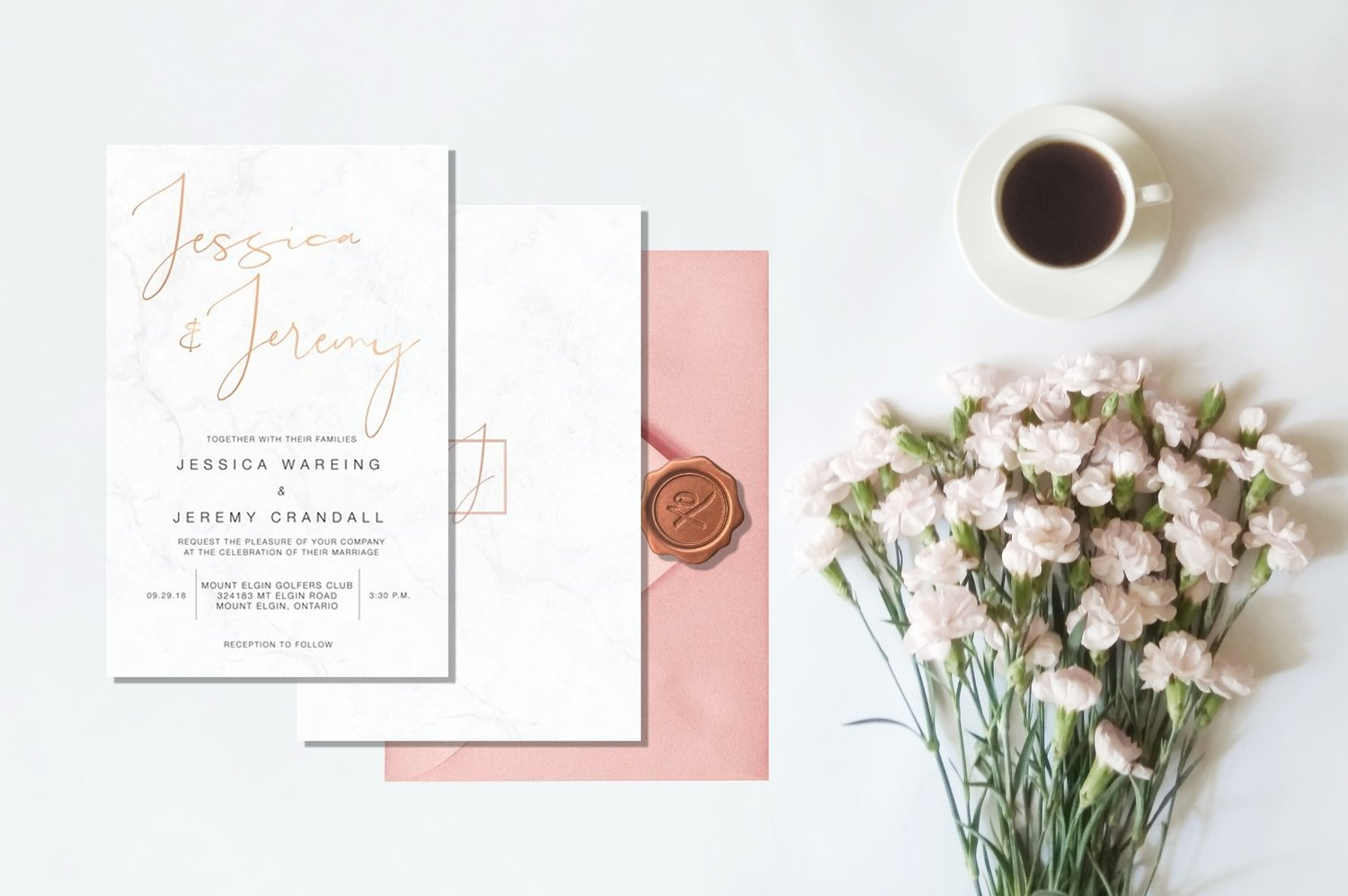 Marble & Rose Gold Invitations