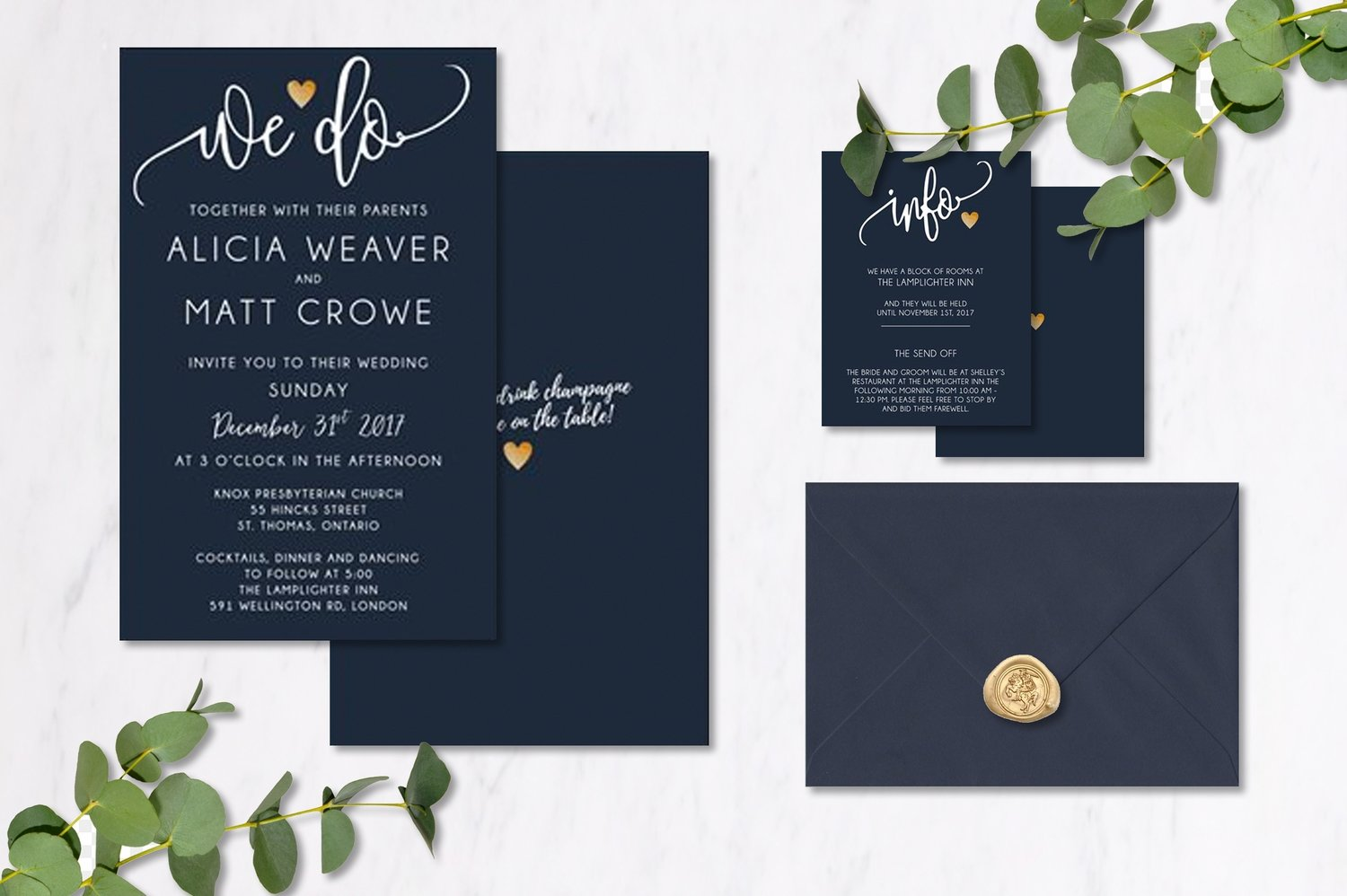 Navy & Gold Invitations