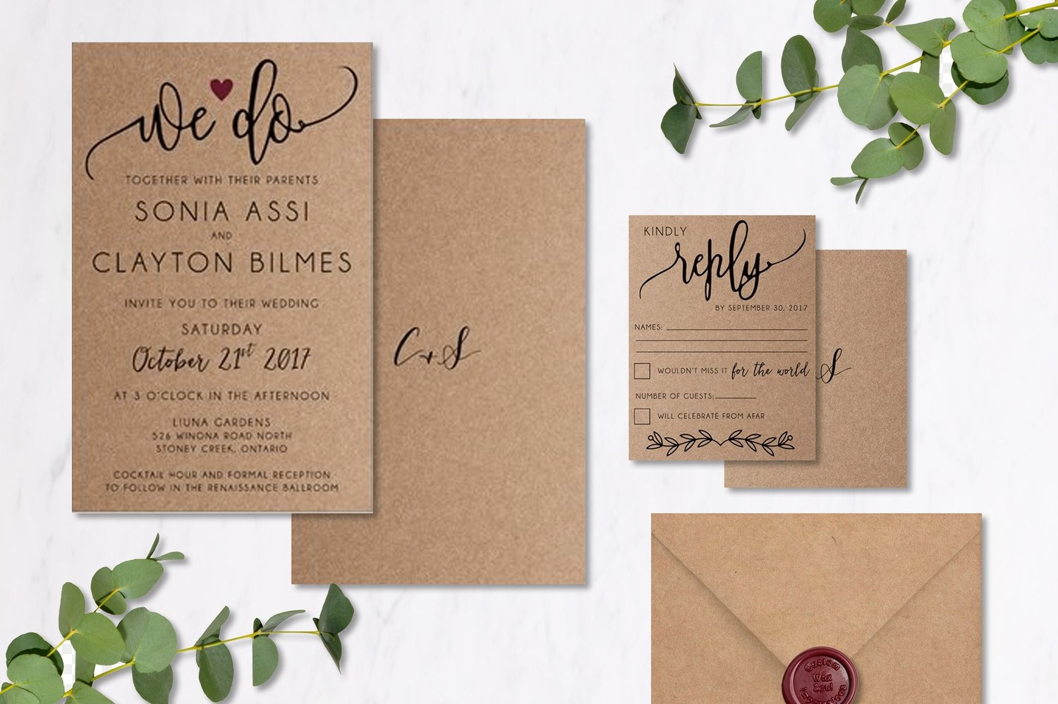 Wine & Kraft Invitations