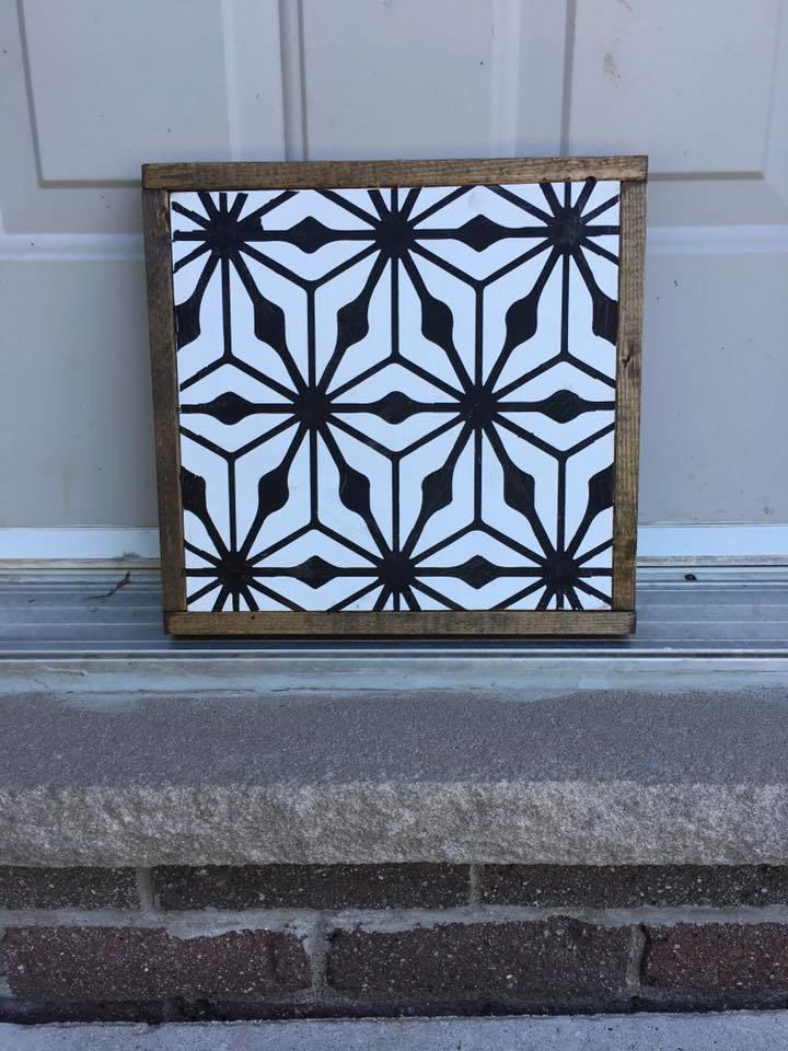 Mid Century Modern Tile | Wood Sign