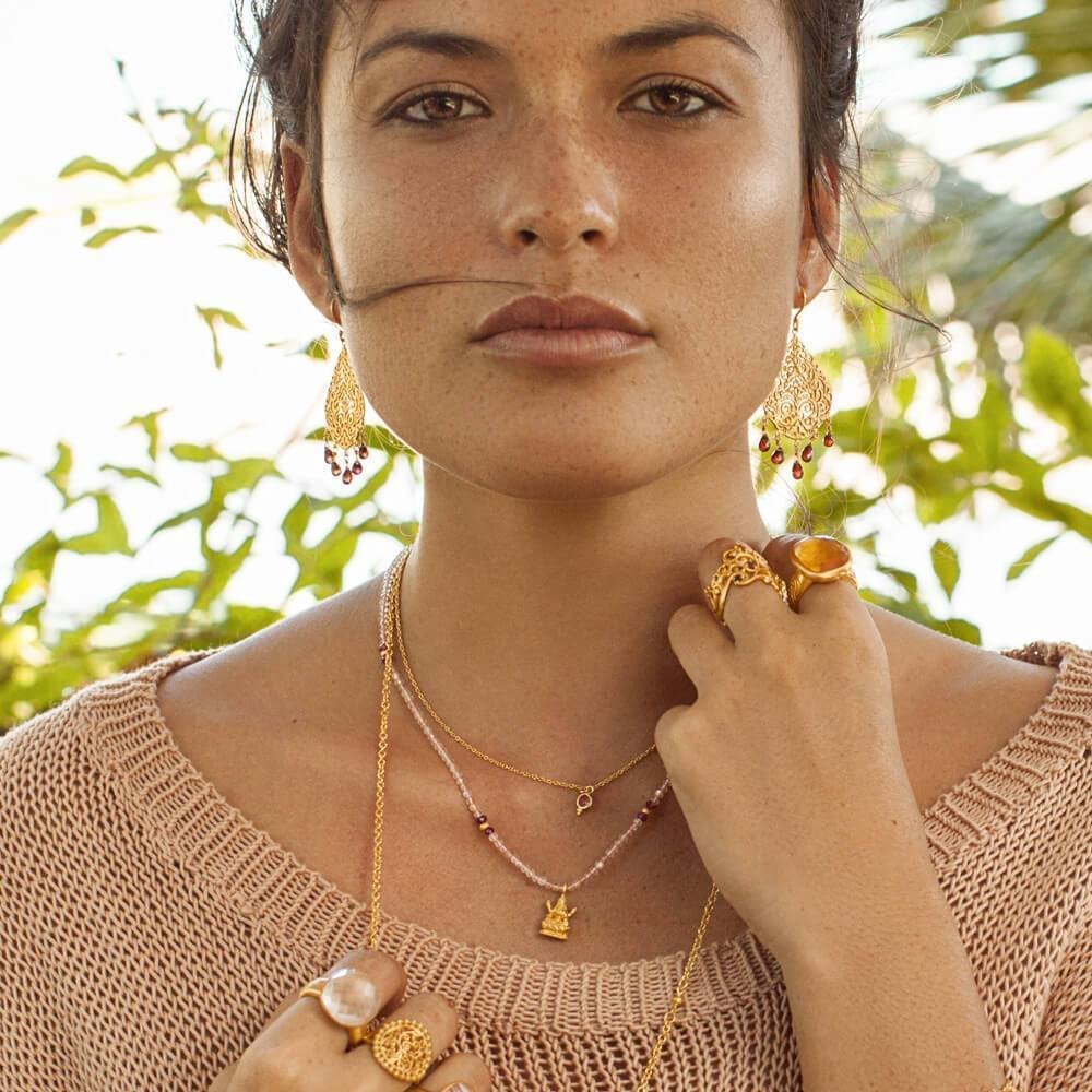 Lakshmi Nadi Necklace • Rose Quartz 00015