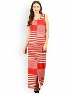 Red & White Striped Maxi Dress