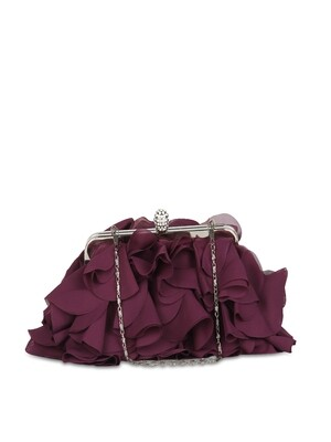 Burgundy Ruffled Clutch With Chain Strap