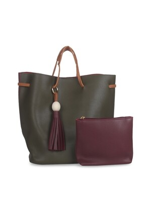 Olive Green & Maroon Colourblocked Leather Handheld Bag
