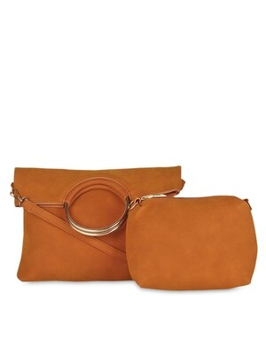 Women Brown Leather Solid Clutch