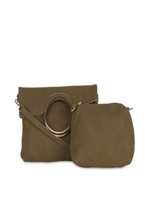 Women Olive Green Leather Solid Clutch