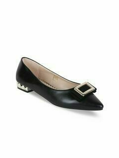 Women Black Solid Leather Ballerinas