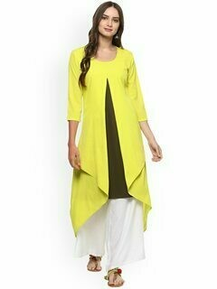 Women Lime Green & Taupe Solid Layered Kurta
