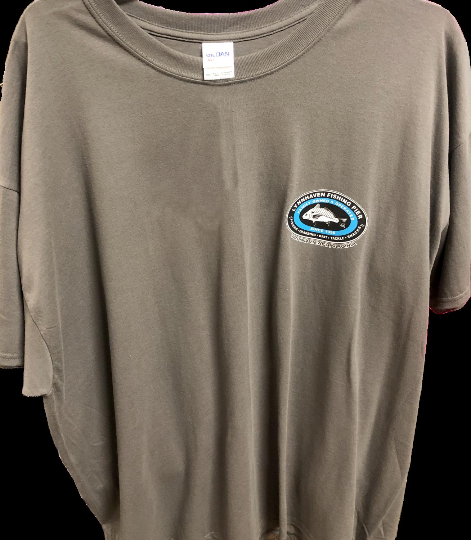 Lynnhaven Pier Novelty Back T-shirt with Front Left Chest Logo: Unisex